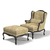 Chelini Classic Wing Lounge Armchair and Ottoman